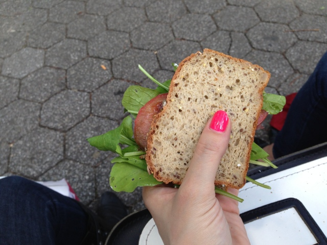 Eat this sandwich, made on a park bench with purchased ingredients from said Farmer's Market.