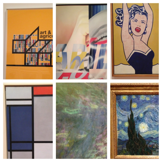 From upper left:  1 of six prints: Art and Agriculture, Liam Gillick, 2011; Marilyn Monroe 1, James Rosenquist, 1962; Girl with Ball, Lichtenstein, 1961; Piet Mondrian, Composition with Red, Blue, Black, Yellow and Gray, 1921; Claude Monet, Waterlilies, 1914-26; Vincent Van Gogh, Starry Night, 1889