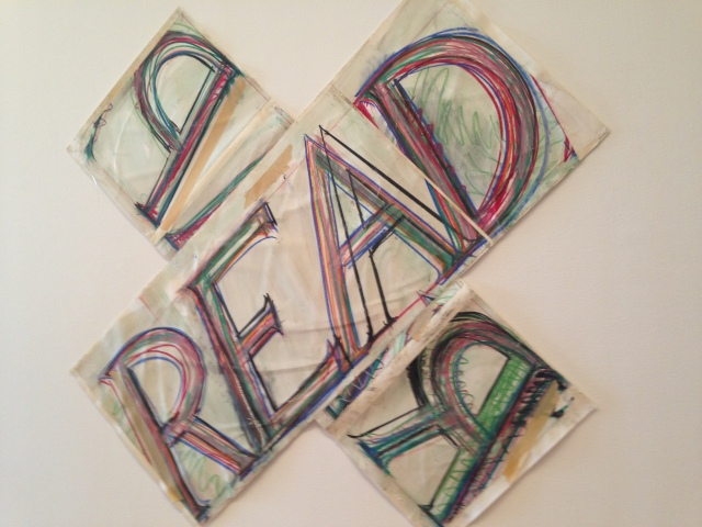 This Read/Reap (Bruce Nauman, 1983) had me rethinking my earlier choice of reading material...guiltily.