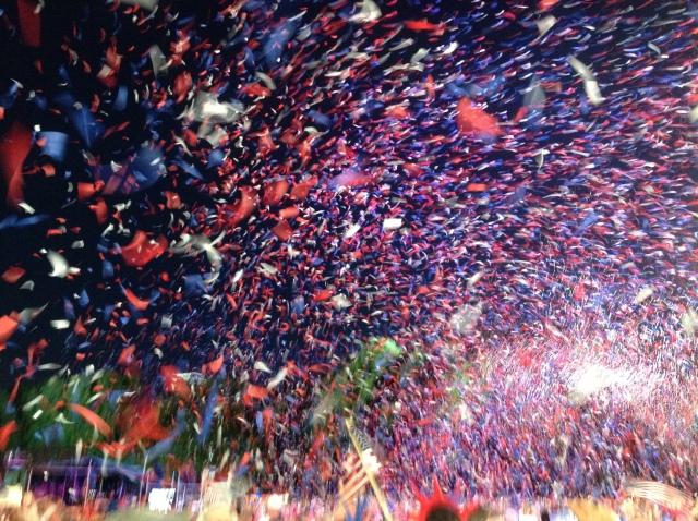 confetti over the crowd