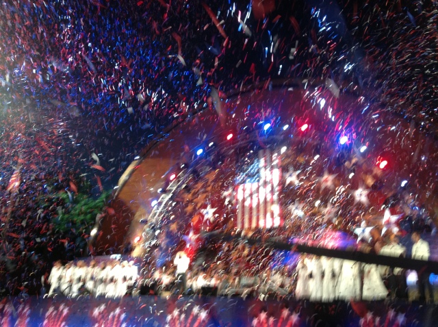 SURPRISE!  The flag came down and the confetti cannons rang out.